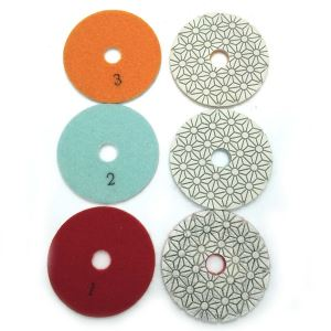 3 Steps Diamond White Flower Resin Wet Polishing Pad